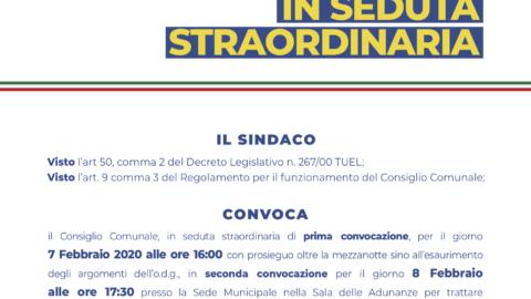 Convocazione Consiglio Comunale – Venerdì 7 febbraio 2020