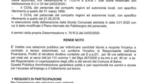 Avviso pubblico per la selezione responsabile dell'area finanziaria ex articolo 110 comma 1