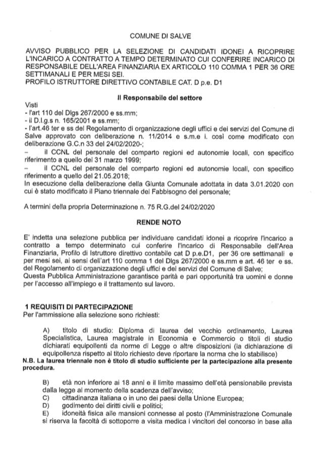Avviso pubblico per la selezione di candidati idonei a ricoprire l'incarico a contratto a tempo determinato cui conferire incarico di responsabile dell'area finanziaria