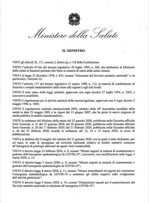 Ordinanza del Ministro della Salute 20 marzo 2020
