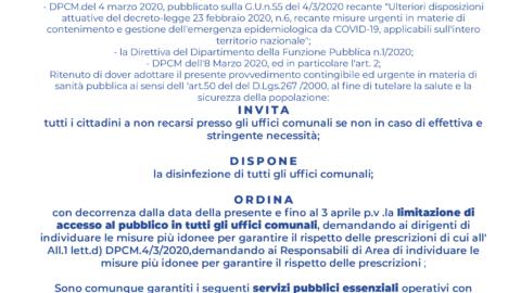 LIMITAZIONE ACCESSI  UFFICI COMUNALI – ORDINANZA N.5 DELL'8/3/2020