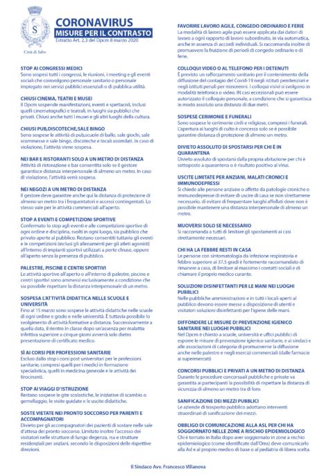 CORONAVIRUS – Misure per il contrasto (Dpcm 8 marzo 2020)