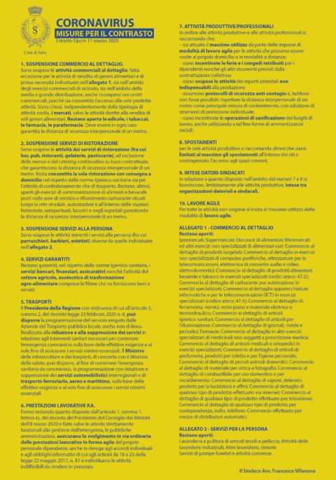 DPCM 11 marzo 2020 – Misure urgenti di contenimento del contagio sull'intero territorio nazionale