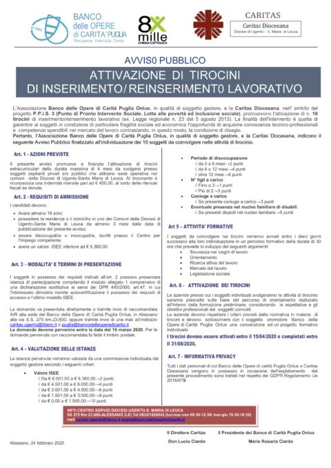 Caritàs Puglia – Attivazione di tirocini di inserimento/ reinserimento lavorativo