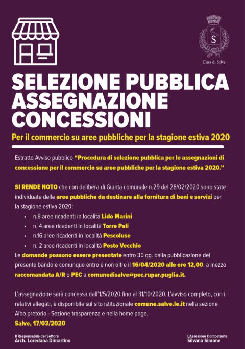 SELEZIONE PUBBLICA  ASSEGNAZIONE CONCESSIONI per il commercio su aree pubbliche per la stagione estiva 2020