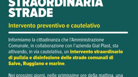 DISINFEZIONE STRAORDINARIA STRADE – Intervento preventivo e cautelativo