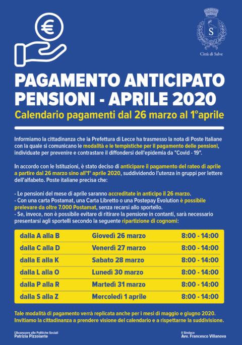 Pagamento anticipato pensioni – aprile 2020