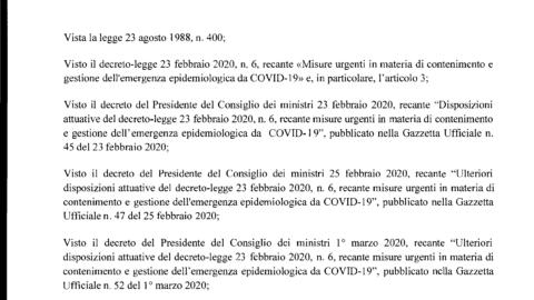 Coronavirus – Misure per il contrasto– Decreto del PDCM del 4/3/2020