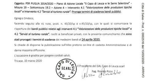 """PSR PUGLIA 2014/2020 – Piano di Azione Locale """"Il Capo di Leuca e le Serre Salentine"""" – Proroga termini di scadenza bandi pubblici"""