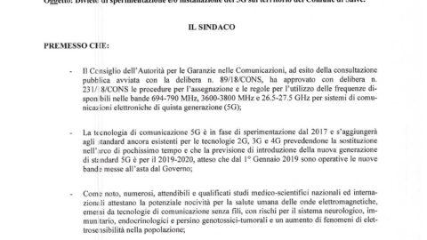 DIVIETO DI SPERIMENTAZIONE E/O INSTALLAZIONE 5G Ordinanza Sindacale n. 7 dell'8/4/2020