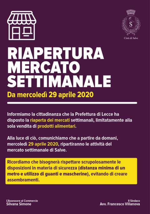 RIAPERTURA MERCATO SETTIMANALE