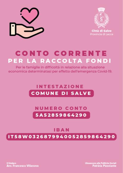 CONTO CORRENTE RACCOLTA FONDI per le famiglie in difficoltà emergenza Covid-19