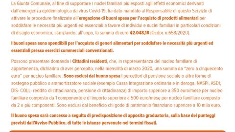 EROGAZIONE BUONI SPESA – Estratto Avviso Pubblico 330 del 3/4/2020