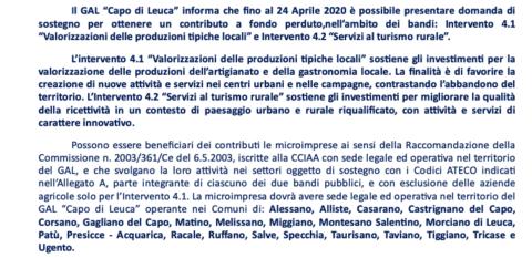 GAL CAPO DI LEUCA – Entro Il 24 Aprile Domande di Contributo a Fondo Perduto per Argianato Tipico Locale e Servizi al Turismo Rurale