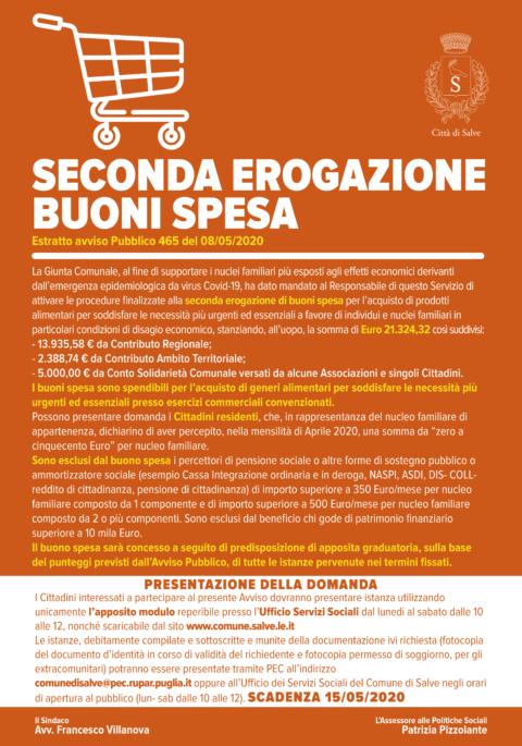 SECONDA EROGAZIONE BUONI SPESA – Estratto Avviso Pubblico 465 del 8/5/2020