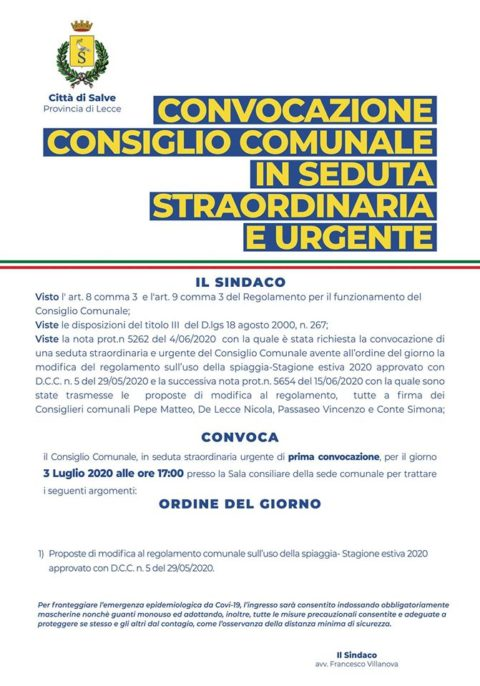 Consiglio Comunale in seduta straordinaria e urgente