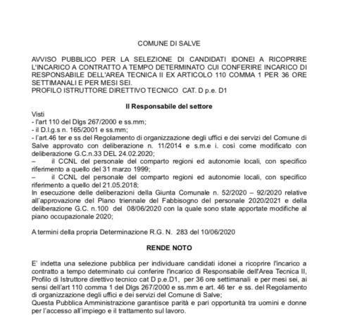 AVVISO PUBBLICO PER LA SELEZIONE DI CANDIDATI IDONEI A RICOPRIRE L'INCARICO DI RESPONSABILE DELL'AREA TECNICA II