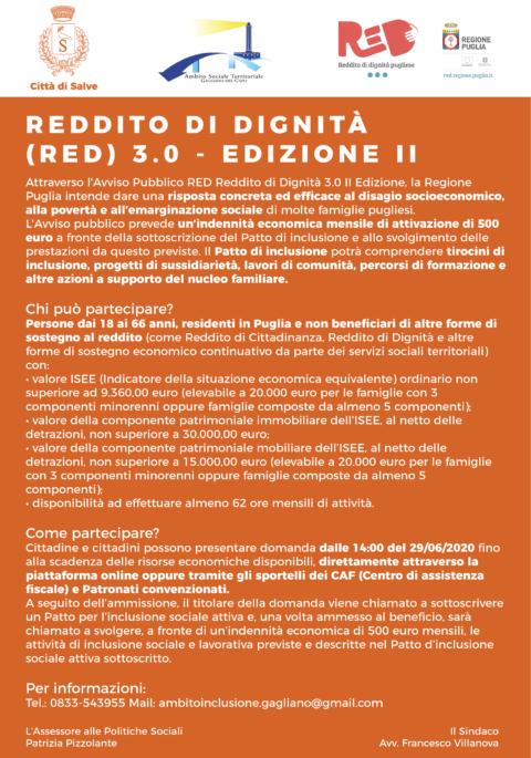 REDDITO DI DIGNITÀ (RED) 3.0 – EDIZIONE II