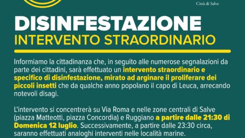 INTERVENTO STRAORDINARIO DI DISINFESTAZIONE