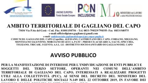 AVVISO PUBBLICO PER LA MANIFESTAZIONE DI INTERESSE PER L'INDIVIDUAZIONE DI ENTI PUBBLICI E SOGGETTI DEL TERZO SETTORE