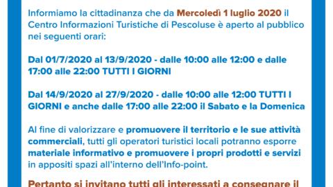APERTURA CENTRO INFORMAZIONI TURISTICHE PESCOLUSE 2020