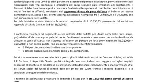 AVVISO PUBBLICO DI EROGAZIONE DI CONTRIBUTI PER FRONTEGGIARE L'EMERGENZA SOCIO-ECONOMICA CAUSATA DAL LOCKDOWN PER IL COVID-19 ATTRAVERSO IL PAGAMENTO DI UTENZE DOMESTICHE (LUCE, ACQUA, GAS)