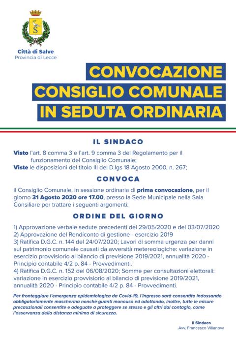 CONSIGLIO COMUNALE 31/08/20