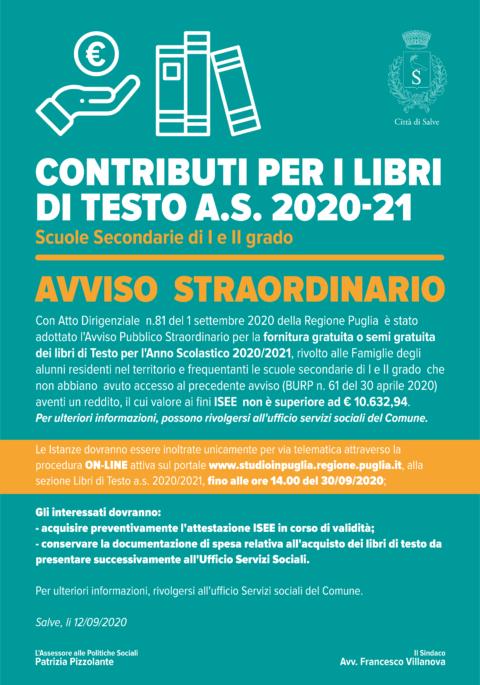 Contributi per i libri di testo A.S. 2020/21 – AVVISO STRAORIDNARIO