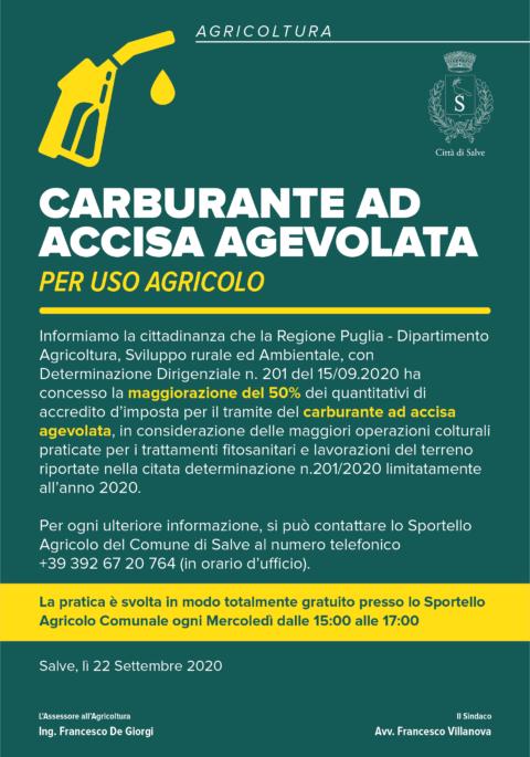 CARBURANTE AD ACCISA AGEVOLATA – PER USO AGRICOLO