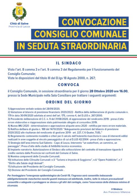 CONSIGLIO COMUNALE OTTOBRE 2020