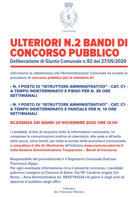 ULTERIORI N.2 BANDI DI CONCORSO PUBBLICO
