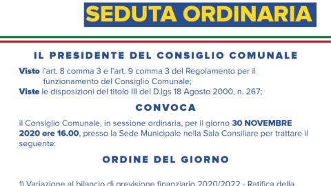 CONSIGLIO COMUNALE 30 NOVEMBRE 2020