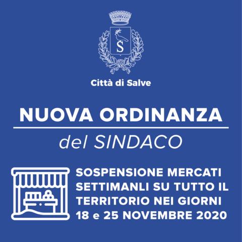ORDINANZA DEL SINDACO N.18 DEL 16.11.20 – SOSPENSIONE MERCATO SETTIMANALE