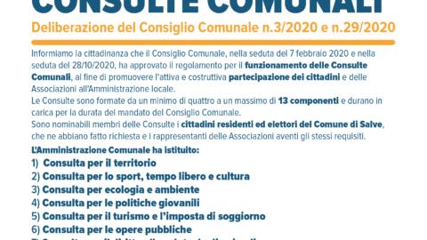 RIAPERTURA TERMINI PER LA COMPOSIZIONE DELLE CONSULTE COMUNALI N. 1, 2, 3, 4 E REPERIMENTO DI CANDIDATURE PER LA COMPOSIZIONE DELLE NUOVE CONSULTE COMUNALI N. 5, 6, 7