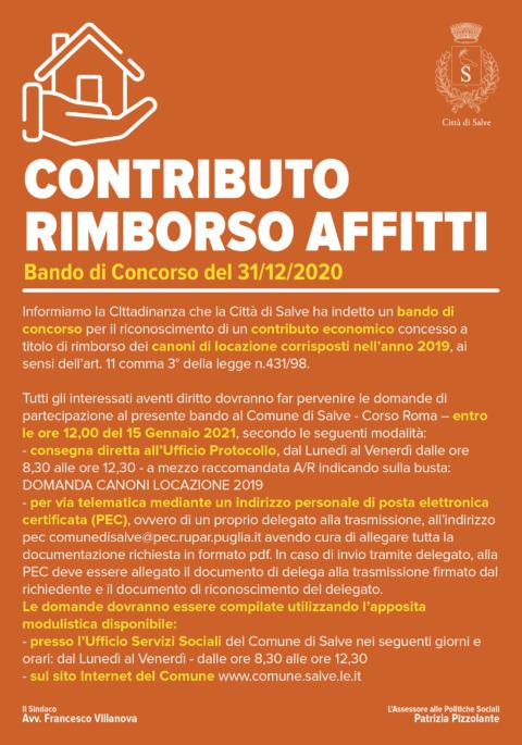 CONTRIBUTO RIMBORSO AFFITTI 2020