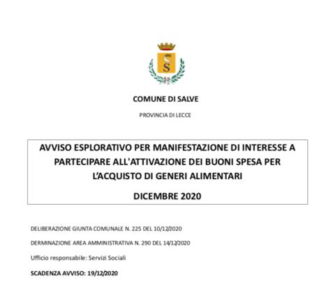 AVVISO ESPLORATIVO PER MANIFESTAZIONE DI INTERESSE A PARTECIPARE ALL'ATTIVAZIONE DEI BUONI SPESA PER L'ACQUISTO DI GENERI ALIMENTARI DICEMBRE 2020