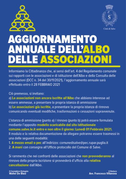 AGGIORNAMENTO ANNUALE DELL'ALBO DELLE ASSOCIAZIONI – 2021