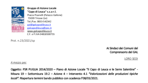 """PSR PUGLIA 2014/2020 – Piano di Azione Locale """"Il Capo di Leuca e le Serre Salentine"""" – Misura 19 – Sottomisura 19.2 – Azione 4 – Intervento 4.1 """"Valorizzazioni delle produzioni tipiche locali"""""""