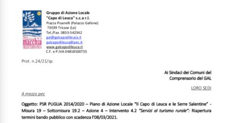 """PSR PUGLIA 2014/2020 – Piano di Azione Locale """"Il Capo di Leuca e le Serre Salentine"""" – Misura 19 – Sottomisura 19.2 – Azione 4 – Intervento 4.2 """"Servizi al turismo rurale"""""""