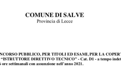 """BANDO DI CONCORSO PUBBLICO N. 1 POSTO DI """"ISTRUTTORE DIRETTIVO TECNICO"""" – Cat. D1"""
