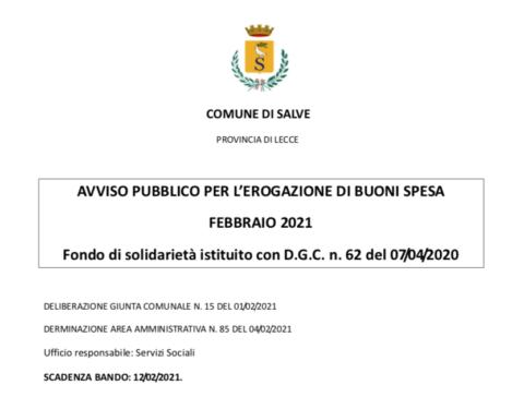 AVVISO PUBBLICO PER L'EROGAZIONE DI BUONI SPESA FEBBRAIO 2021