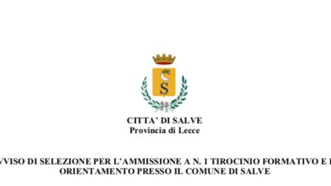 AVVISO DI SELEZIONE PER L'AMMISSIONE A N. 1 TIROCINIO FORMATIVO E DI ORIENTAMENTO PRESSO IL COMUNE DI SALVE