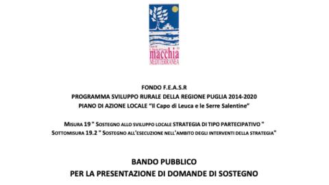 """PSR PUGLIA 2014/2020 – Piano di Azione Locale """"Il Capo di Leuca e le Serre Salentine"""" -Misura 19 – Sottomisura 19.2 – Azione 4 – Intervento 4.2 """"Servizi al turismo rurale"""": Riapertura termini bando pubblico con scadenza l'08/03/2021. -PROROGA SCADENZA AL 15/03/2021-"""