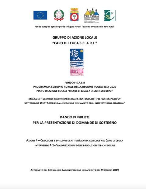 """PSR PUGLIA 2014/2020 – Piano di Azione Locale """"Il Capo di Leuca e le Serre Salentine"""" -Misura 19 – Sottomisura 19.2 – Azione 4 – Intervento 4.1 """"Valorizzazioni delle produzioni tipiche locali"""": Riapertura termini bando pubblico con scadenza l'08/03/2021. PROROGA SCADENZA AL 15/03/2021"""