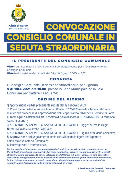 CONSIGLIO COMUNALE 9 APRILE 2021