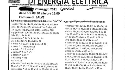 INTERRUZIONE LINEA Elettrica – 20 MAGGIO 2021