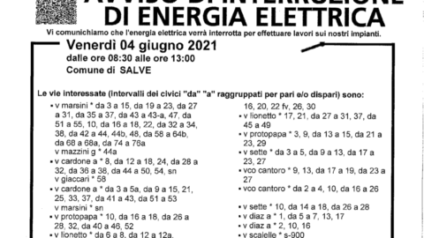 INTERRUZIONE LINEA Elettrica 04/06/2021
