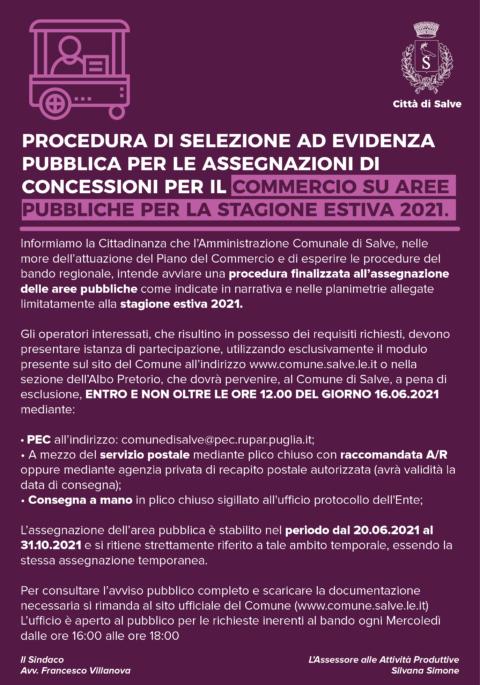 Procedura di selezione ad evidenza pubblica per le assegnazioni di concessioni per il commercio su aree pubbliche per la stagione estiva 2021.