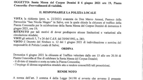 Ordinanza N.8 del 02/06/2021 – CHIUSURA AL TRAFFICO P.ZZA CONCORDIA