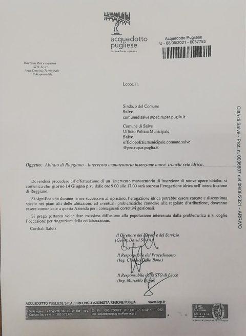INTERRUZIONE EROGAZIONE IDRICA – RUGGIANO – 14 MAGGIO 2021
